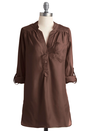 Pam Breeze-ly Tunic in Coffee - Work, Brown, Solid, Buttons, Pockets, 3/4 Sleeve, Long