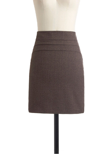 Chief Design Officer Skirt - Short, Brown, Tan / Cream, Plaid, Work, Mini