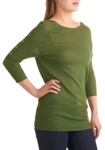 In a Snap Tunic by Tulle Clothing - Long, Green, Solid, Casual, 3/4 Sleeve