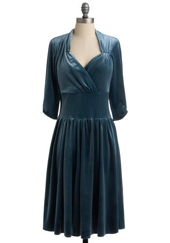 Trill Seeker Dress - Long, Special Occasion, Film Noir, Blue, Solid, Empire, 3/4 Sleeve, Vintage Inspired, A-line, Winter