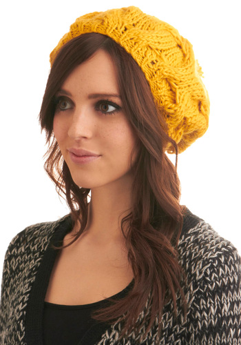 Sun Stand-in Hat - Yellow, Solid, Knitted, Poms, Winter