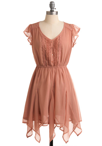 Chiffon Cloud Nine Dress - Short, Solid, Buttons, Lace, Ruffles, A-line, Cap Sleeves, Orange, Handkerchief, Pleats, Casual, Mini, Spring