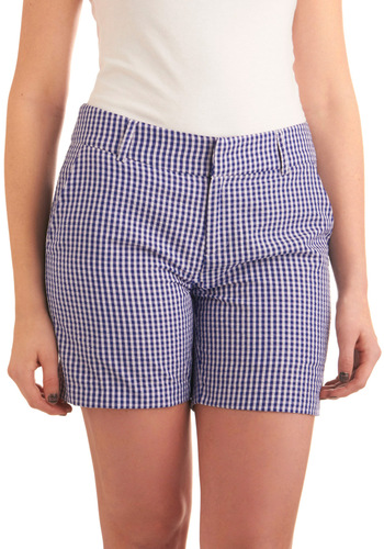 Perfect Picnic Shorts - Casual, Vintage Inspired, 60s, Blue, White, Checkered / Gingham, Pockets, Summer, Mid-length