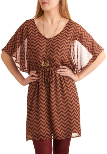 Chevron Occasion Dress - Mid-length, Casual, Red, Brown, Stripes, Bows, Ruffles, A-line, Short Sleeves, Fall, Chevron