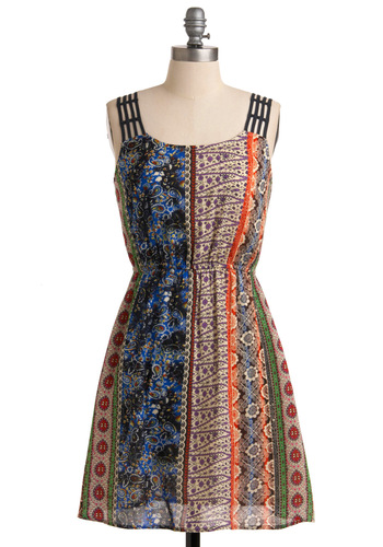 Psychedelic Songwriter Dress - Mid-length, Multi, A-line, Casual, Boho, Red, Orange, Green, Blue, Purple, Tan / Cream, Floral, Paisley, Cutout, Exposed zipper, Tank top (2 thick straps), Vintage Inspired, 70s, Print