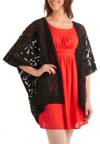 Graceful Garland Cardigan - Long, Formal, Film Noir, Luxe, Black, Lace, 3/4 Sleeve, Floral