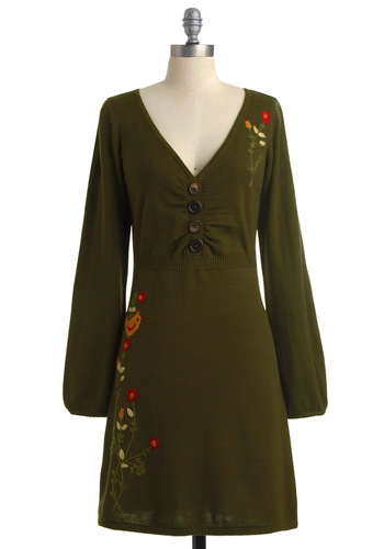 Take Partridge in the Fun Dress by Knitted Dove - Mid-length, Green, Red, Tan / Cream, Buttons, Embroidery, Long Sleeve, Brown, Floral, Casual, A-line, Winter