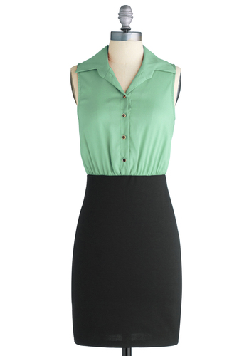 Profesh Your Love Dress - Green, Black, Solid, Buttons, Twofer, Sleeveless, Work, Mid-length, Vintage Inspired