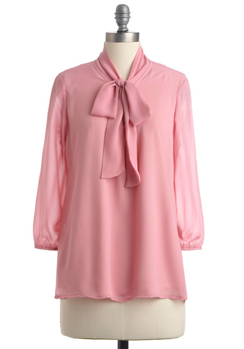 Rose and Poetry Top - Mid-length, Pink, Solid, Bows, Long Sleeve, Work