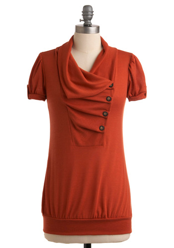 Over and Over Top in Pumpkin - Casual, Orange, Solid, Buttons, Pleats, Short Sleeves, Fall, Mid-length