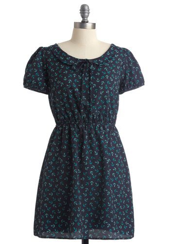 Just Dropping By Dress - Blue, A-line, Short Sleeves, Casual, Nautical, Novelty Print, Bows, Peter Pan Collar, Summer, Print, Short
