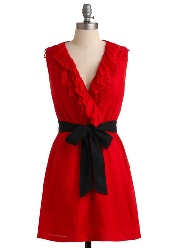 Savor the Date Dress - Red, Black, Solid, Lace, Ruffles, A-line, Sleeveless, Party, Short