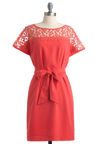 Gladsome Greetings Dress - Mid-length, Orange, Solid, Crochet, Flower, Cap Sleeves, Vintage Inspired, Sheath / Shift
