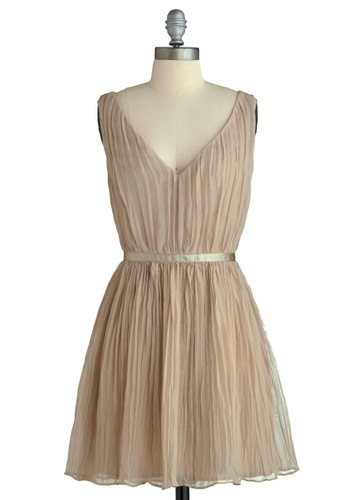 Crinkled Confection Dress by BB Dakota - Cream, Solid, Party, Vintage Inspired, A-line, Sleeveless, Trim, Mid-length