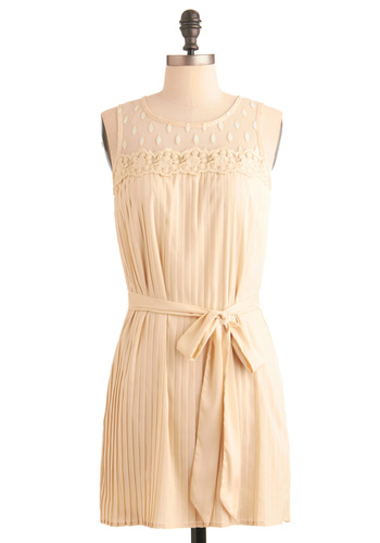 Pass the Sugar, Pleats Dress - Wedding, Party, 30s, Cream, Floral, Lace, Pleats, A-line, Sleeveless, Spring, Short, White, Vintage Inspired, 20s