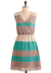 Side by Seaside Dress - Mid-length, Casual, Tan / Cream, Stripes, A-line, Sleeveless, Multi, Green