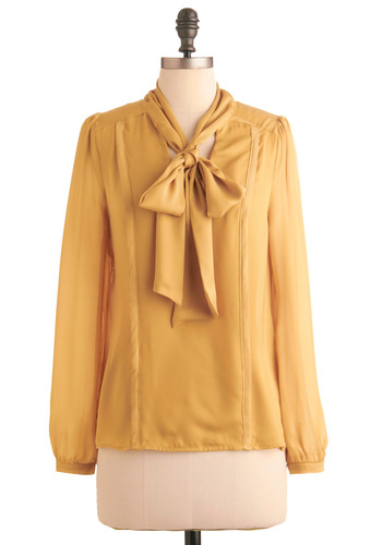 So It Seams Top - Mid-length, Work, 80s, Solid, Bows, Long Sleeve, Yellow