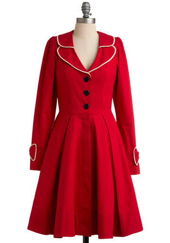 In Love and Beyond Coat - Red, White, Solid, Bows, Buttons, Trim, Party, A-line, Long Sleeve, Long, 2, Spring