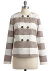 The Sunset Stripe Jacket by Jack by BB Dakota - Mid-length, Casual, Nautical, Brown, White, Stripes, Buttons, Long Sleeve, Spring, 1.5
