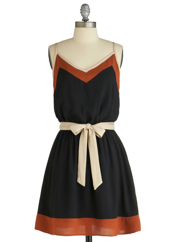 Decidedly Neutral Dress - Mid-length, Black, Brown, Tan / Cream, Bows, A-line, Spaghetti Straps