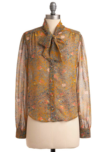 Hyacinth in the Sky Top - Mid-length, Floral, Buttons, Long Sleeve, Brown, Multi, Blue, Pink, White, Bows, Work
