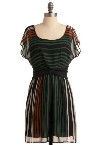 Adorable Anytime Dress - Mid-length, Casual, Orange, Tan / Cream, Stripes, Bows, Shift, Green, Black, Short Sleeves
