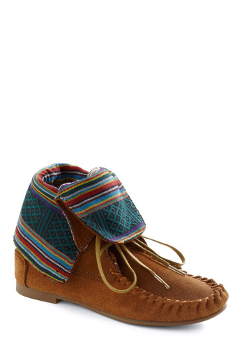 Beach Bonfire Bootie by Steve Madden - Casual, Boho, Folk Art, Brown, Multi, Print, Winter