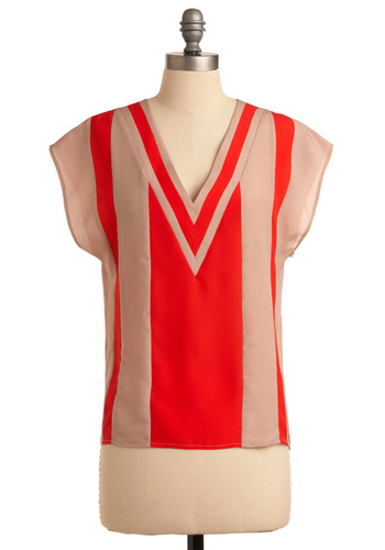 Count on V Top - 70s, Red, Tan / Cream, Short Sleeves, Mid-length