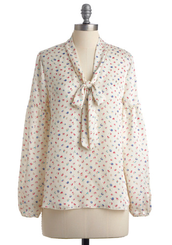 Tea Time Delight Top - Mid-length, Floral, Long Sleeve, Cream, Red, Blue, Tan / Cream, Work, Spring