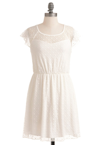 Lyrical Sea Lily Dress - White, Solid, A-line, Cap Sleeves, Boho, Spring, Ruffles, Casual, Short, Sheer