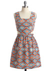 Leave Your Print Dress - Multi, Print, Cutout, A-line, Sleeveless, Orange, Blue, Tan / Cream, Exposed zipper, Pleats, Party, Statement, Short