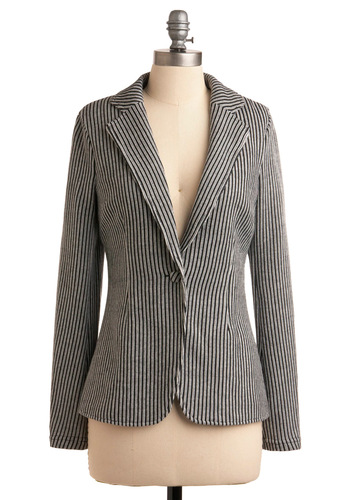 Drop Me a Line Blazer - Mid-length, Work, Nautical, Buttons, Long Sleeve, Black, White, Woven, 1.5