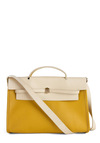 Lemon Square Deal Handbag - Vintage Inspired, 50s, 60s, Yellow, Tan / Cream, Statement