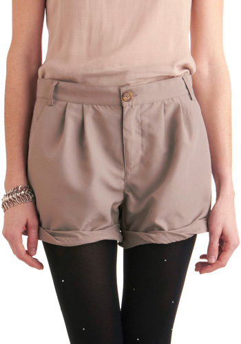 My Cuff of Tea Shorts by Jack by BB Dakota - Short, Casual, Safari, Tan, Solid, Pleats, Pockets