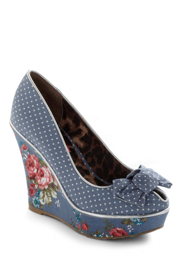 Betsey Johnson For the Winsome Wedge by Betsey Johnson - Party, Rockabilly, Pinup, 40s, 50s, Blue, White, Multi, Polka Dots, Floral, Bows, Wedge