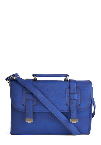 I'll Be Briefcase Bag - Casual, Menswear Inspired, Blue, Solid