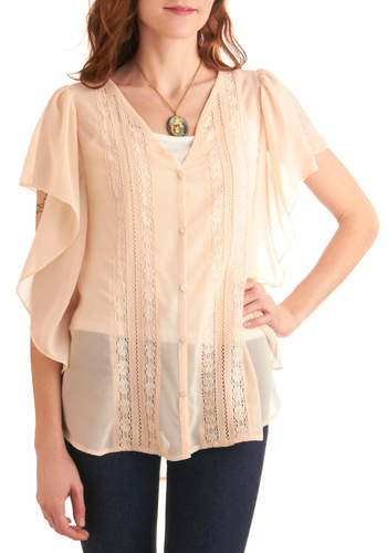 Flower Shop Window Top by Jack by BB Dakota - Long, Casual, Boho, Pink, Solid, Buttons, Lace, Ruffles, Short Sleeves, Spring