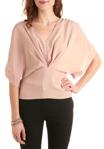 Rose Water Remedy Top - Mid-length, Pink, Solid, Pleats, Party, Short Sleeves