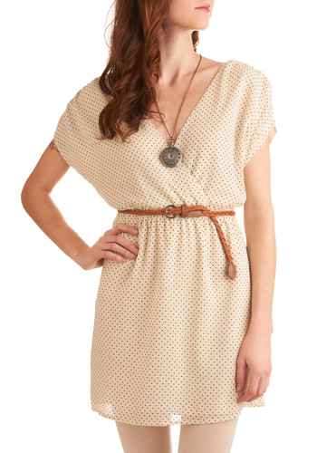 How Have You Vanilla Bean Dress - Mid-length, Casual, Cream, Black, Polka Dots, Short Sleeves, Spring