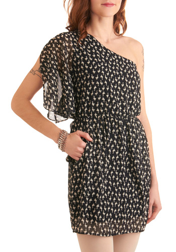 Worth a Gander Dress - Casual, Fairytale, Black, White, Print with Animals, Pockets, Shift, One Shoulder, Print, Short