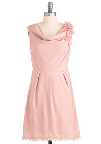 Joined at the Rose Hip Dress - Mid-length, Pink, Solid, Shift, Sleeveless, Pleats, Scallops, Wedding
