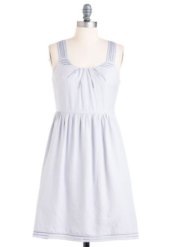 Just What It Seams Dress - Mid-length, Grey, Solid, Embroidery, A-line, Casual, Tank top (2 thick straps)