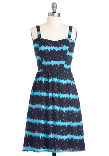 Smashing in Splashes Dress - Mid-length, Casual, Stripes, A-line, Blue, Tank top (2 thick straps), Print