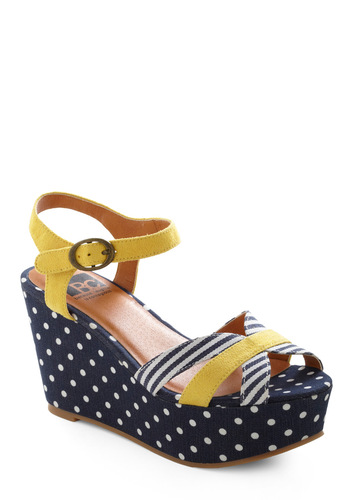 Mainstay the Evening Wedge by BC Footwear - Casual, Nautical, Blue, Yellow, White, Polka Dots, Stripes, Summer, Rockabilly, Wedge
