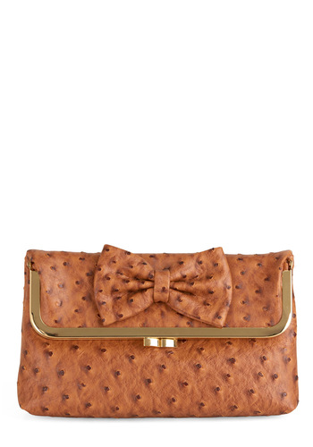 Beaut Naturelle Clutch - Brown, Solid, Animal Print, Bows, Chain, Party
