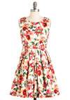 Demure and Simple Dress - 40s, Multi, Red, Orange, Green, Pink, White, Floral, A-line, Sleeveless, Spring, Short, Cotton, Daytime Party, Fit & Flare, Graduation
