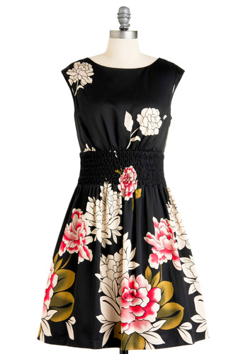 All About Elegance Dress - Mid-length, Red, Green, White, Floral, A-line, Cap Sleeves, Party, 50s, Multi, Black, Pleats