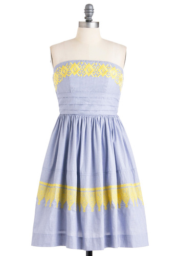 New Stories Dress - Blue, Yellow, White, Stripes, Embroidery, A-line, Strapless, Party, Spring, Long