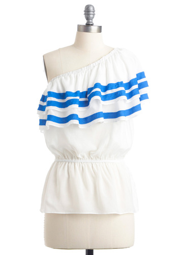 Flirty in Formentera Top - Nautical, White, Blue, Solid, Stripes, Ruffles, One Shoulder, Summer, Mid-length