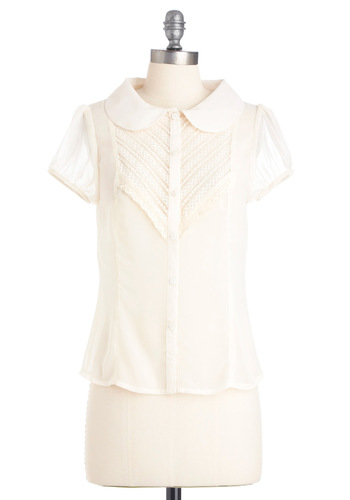 A Delicate Wish Top - Mid-length, Casual, White, Solid, Buttons, Lace, Short Sleeves, Spring